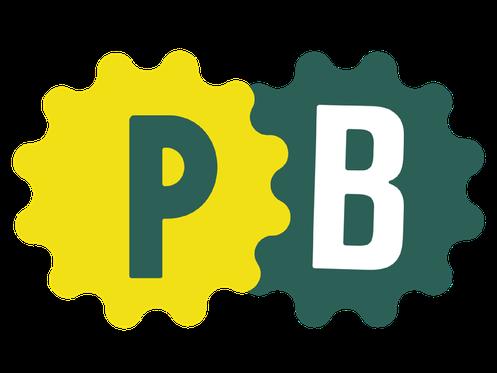 Logodarstellung mit zwei Initialien P und B auf gelber und grüner Form für die Kundin Petra Böckmann. Leistung: Corporate Identity, Briefpapier, Logo, Briefbogen, Stempel, Beileger, Typografie. Ort: Kiel
