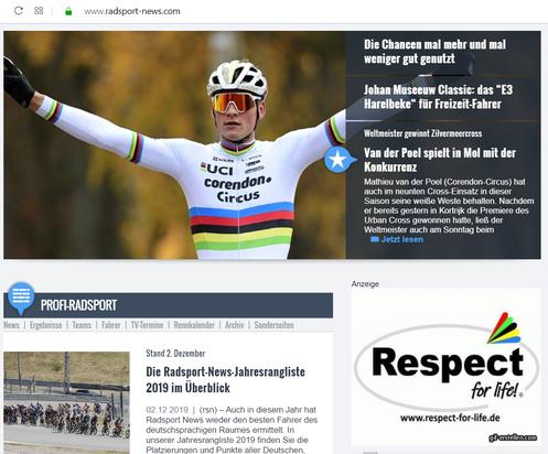 Respect-for-life! in den Radsport news mit Weltmeister Matthieu van der Poel (Correndon-Circus)