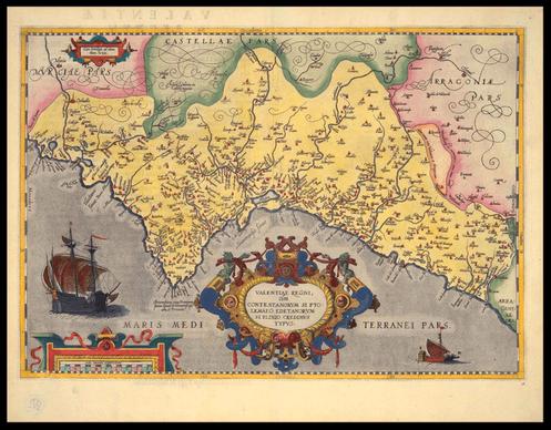 Mapa del Reino de Valencia en 1238.