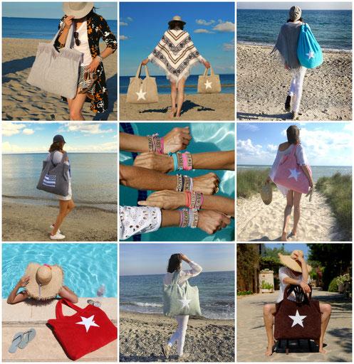 Strandtasche - Stern - Frottee - Beachbag