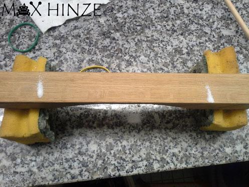 """""""Testton aus Eiche"""" Aufgezeichnet sind die 3 Zonen zum Obertonstimmen, Max Hinze selbst gebautes Marimba selbstgebautes Marimbaphon DIY"""