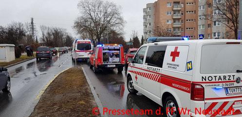 Feuerwehr, Blaulicht, Pottendorfer Straße, Frontalzusammentoß, PKW