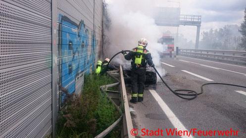 Feuerwehr; Blaulicht; Berufsfeuerwehr Wien; Unfall; Auffahrunfall; A4; PKW; Brand;