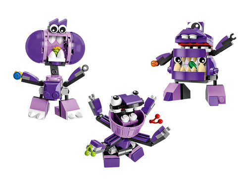 Some of Lukas' favourite Lego Mixels, The Munchos... perhaps he just likes purple!