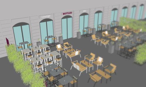 3D Visualisierung mit Möbeln in einer Außenterrasse an einem Restaurant