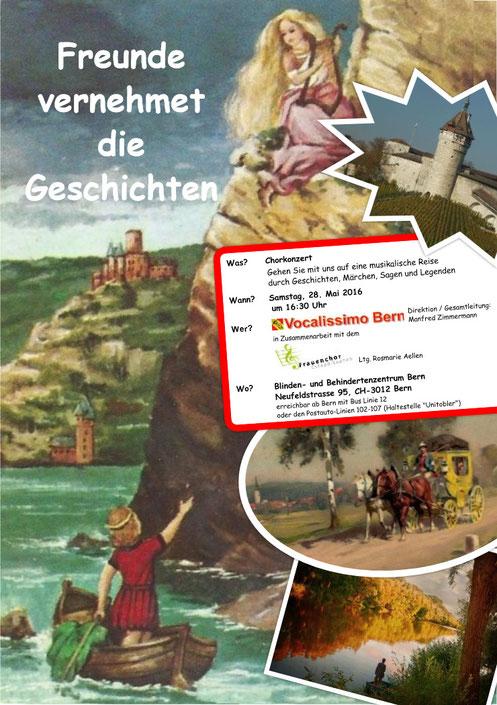 """Plakat zum Konzert """"Freunde vernehmet die Geschichten"""""""