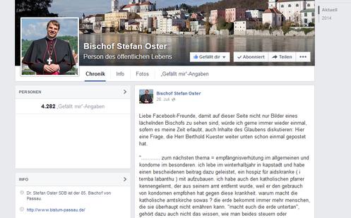 Bischof Stefan Oster am 26. Juli 2014 auf seiner Facebook-Seite