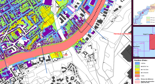 Exemple de carte d'aléa : des terrains exposés à de faibles hauteurs d'eau (bleu = moins de 50cm en crue centennale) sont concernées par la bande de précaution (hachurée) et seront donc inconstructibles. Ici : Creil (60).