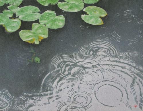 「雨粒を追いかける」 油彩・キャンバス F6