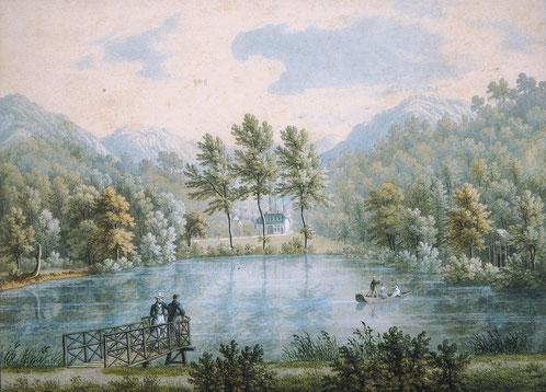 Mittlerer Weiher und Sophienruhe, Anton Winterlin, ca. 1843, Aquarell, (c) Denkmalpflege BL