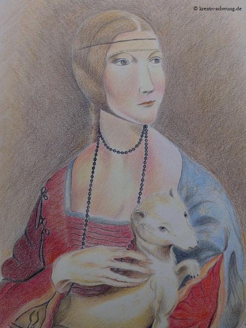 Leonardo da Vincis Dame mit dem Hermelin, gemalt von mir nach Vorlage, 2019 Polychromos