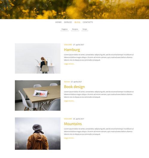 Le categorie appaiono come sottopagine della pagina Blog.