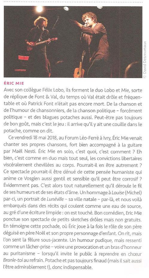 Magnifique article dans le dernier numéro d'Hexagone n°8 été 2018 (revue trimestrielle de la chanson) sur mon passage au Forum Léo Ferré !...