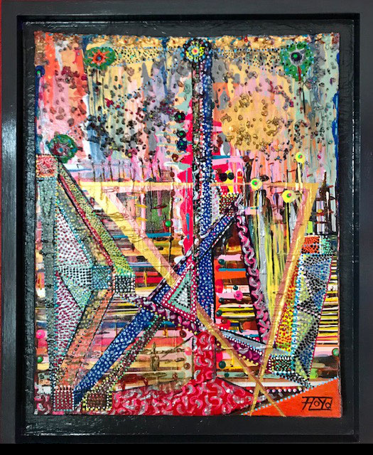 dieses Farbenspiel lebt von den vielen Details der übereinander aufgetragenen Elementen. Auch der schwarze Holzrahmen verstärkt die Effekte der Oberflächen.