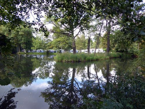 Sept. 2015, Blick auf den Schlosspark-Campingplatz in Lübbenau