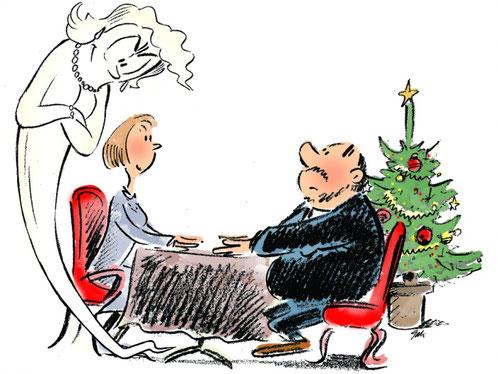 dessin d'un homme et d'une femme à table en tête à tête. la silhouette d'un fantôme survol la femme.