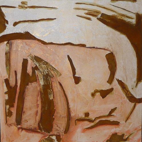 Nr. 2010-HO-32: 80 x 80 cm, Acryl, Strukturmasse, Rosteffekt auf MDF