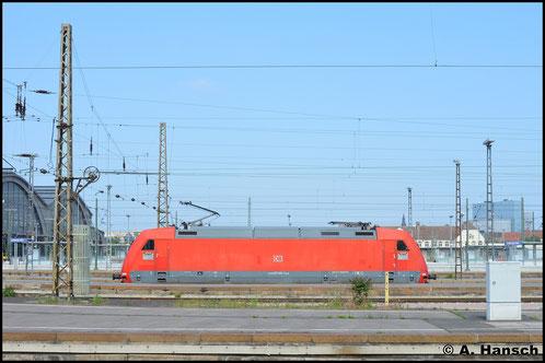 Am 28. Mai 2016 konnte über einige Bahnsteige hinweg 101 145-1 in Leipzig Hbf. fotografiert werden