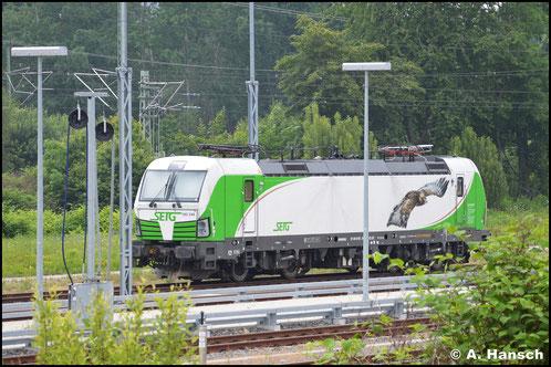 Versehen mit einem Steinadler steht die Lok am 16. Juni 2020 im Außenbahnhof von Chemnitz. Sie brachte wenige Stunden zuvor einen leeren Holzzug nach Chemnitz Hbf.