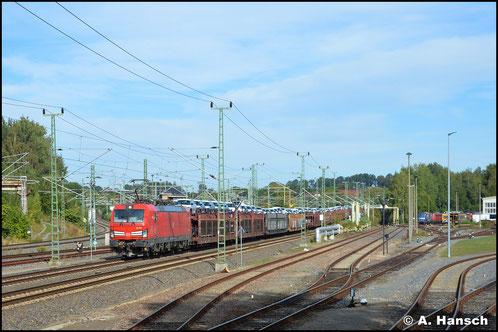 Mein erster verkehrsroter DB-Vectron war 193 389-4, welcher am 03. Oktober 2020 mit Autozug Einfahrt in den Chemnitzer Hbf. hat