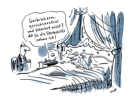 Cartoon von Mock zum Thema Sterbehilfe
