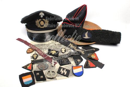 Aanwinsten juni 2017 www.bezetting40-45.nl  – Pet Staatpolitie / WA Kwartiermuts / Jeugdstom Karpoets  / Mouwbanden - Oostkorps - Niederlande -Landwacht / Kraagspiegels  -SS  - Landwacht / WA sportinsigne / NSKK insigne / SS Mouw schildjes / brochure SS /