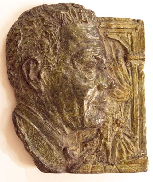 BAS-RELIEF en BRONZE DE Gabriel DUSSURGET (1904-1996) FONDATEUR DU FESTIVAL D'ART LYRIQUE à AIX-en-PROVENCE. AUTOUR DE SON VISAGE LE THEÄTRE DE L'ARCHEVÊCHE DES ANNEES 50.