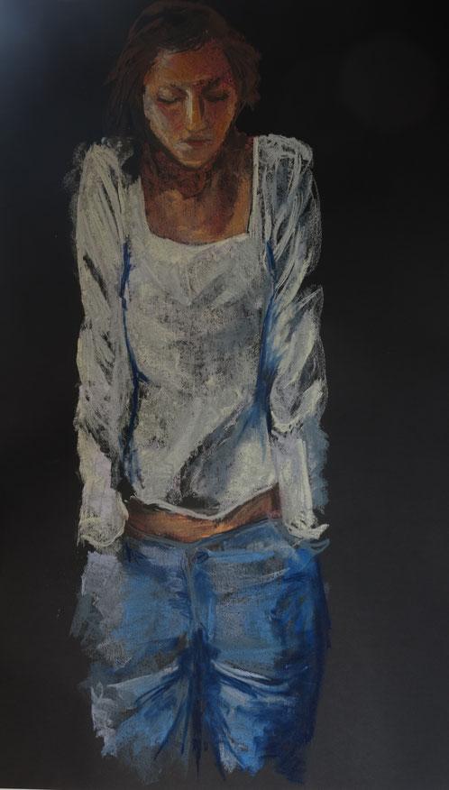 Meisje in witte blouze- pastel, 70 x 100cm