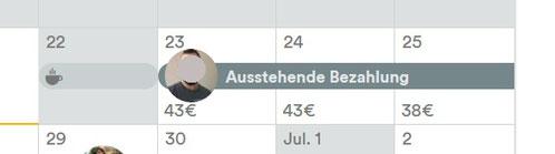 Ausstehende Bezahlung mit blockiertem Kalender