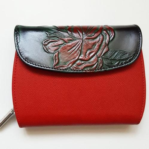 Designer Geldbörse zum Umhängen, Minibag von déqua, classic Rose, Rindsleder geprägt, rot-schwarz-bunt-bunt