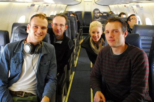 V.l.n.r. Ik, Thomas Reich, Laura Tiemann en GertJan Verspui
