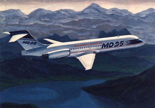 Hier sieht man eine frühe Zeichnung der MD-95. Die Ähnlichkeit mit der (längeren) MD-87 ist erstaunlich. Auffallend ist, daß hier nur ein Notausstieg pro Flügel zu sehen ist./Courtesy: McDonnell Douglas