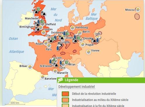 Carte Europe Industrielle.L Age Industriel Ou La Premiere Revolution Industrielle