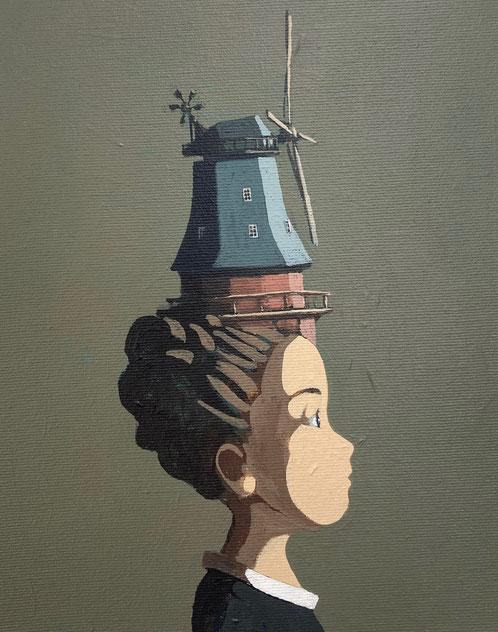 windmill - Acryl auf Leinwand, 30x24cm, | verkauft