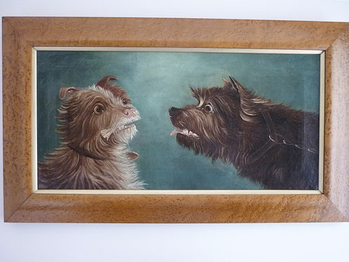 English 19th century folk art oil painting, terriers confronting each other