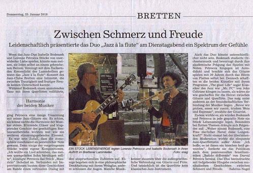 Konzert in Bretten, Artikel von Sabrina nagel vom 25.01.2018