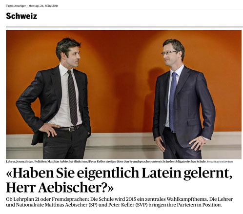 Streitgespräch zur Sprachenfrage im Bundeshaus. Tagesanzeiger, 24.03.2014