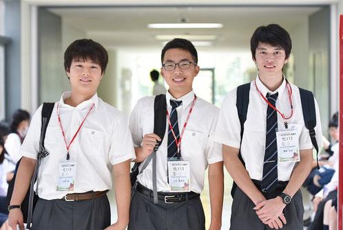 左から 石塚翔くん(3年)、中島康太郎くん(3年)、関野崇晃くん(3年)