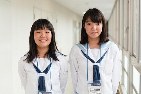 左から 吉田優香さん(2年)、松井佳咲音さん(2年)