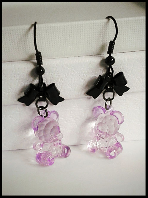 Translucent Purple Teddy Bear Earrings with Black Bows