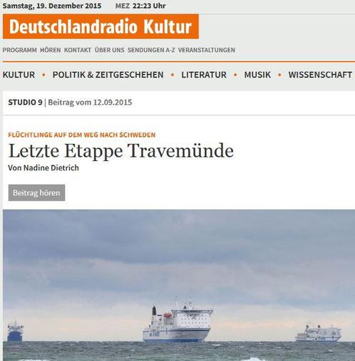 Nadine Dietrich NDR Deutschlandradio Flüchtlinge Travemünde