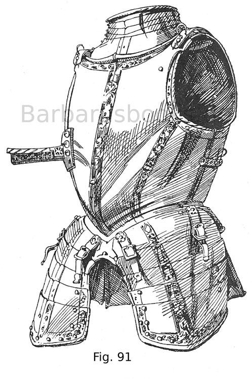 Fig. 91. Brust mit Gansbauch, Kragen und Beintaschen mit Schwarzätzung geziert von einem Feldharnisch. Deutsche Arbeit um 1560.