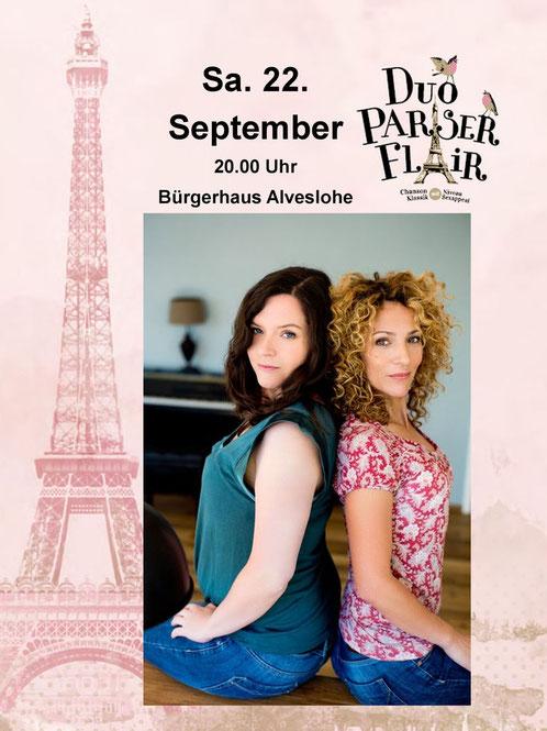 Duo Pariser Flair am Sa. den 22. Sept. 2018 im Bürgerhaus Alveslohe (Foto: David Reisler