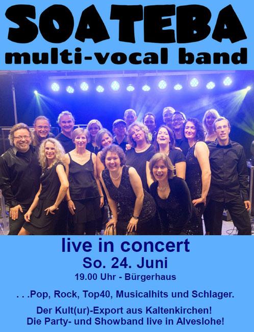 SOATEBA live in conzert am So. den 24. Juni 2018 in Alveslohe im Bürgerhaus
