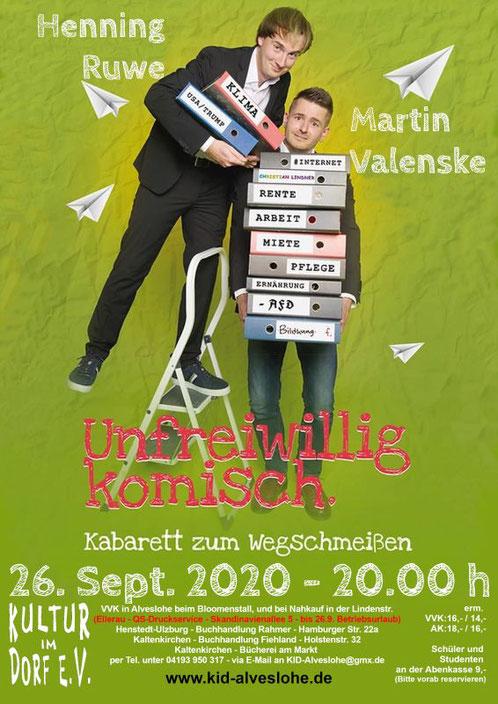 Junges Kabarett mit Ruwe und Valenske - Unfreiwillig Komisch - am 26. Sept. 2020 um 20.00 Uhr im Bürgerhaus Alveslohe