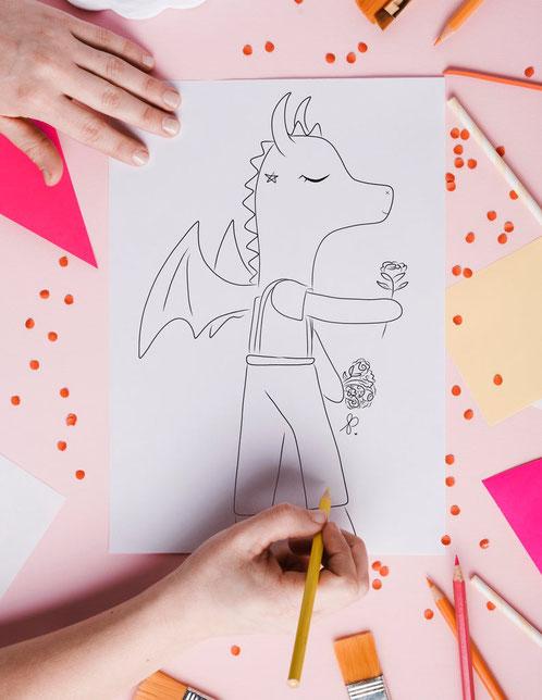 ETsy Qc, relève etsy, moon sprites, dragon à colorier