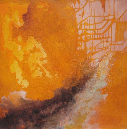 Wohin führt der Weg, 70 x 70 cm, Spachtelmasse, Acrylfarbe, Kaseinfarbe
