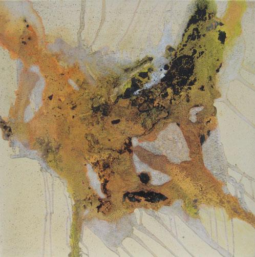 Aus der Reihe: Atelier Erde 70 x 70 cm, Urgesteinsmehl, Acrylfarbe, Lack, Ölfarbe