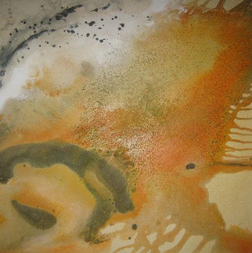 Aus der Reihe Atelier Erde, 70 x70 cm, Urgesteinsmehl, Acrylfarbe, Lack, Pigmente