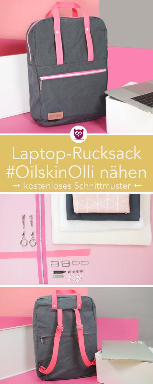 [Werbung] Laptop Rucksack #OilskinOlli nähen mit kostenlosem Schnittmuster. Perfekt für 15 Zoll Laptop. Material von Snaply: Oilskin Light, Lashy Gurtband, Buchschrauben, Style-Vil Fix und eigenem Label. Verdeckter Reißverschluss am Rücken. Nähanleitung